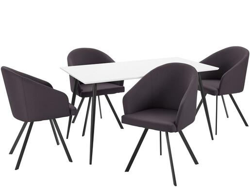 5-tlg. Essgruppe DANTE 140 cm mit 4 Stühlen in anthrazit