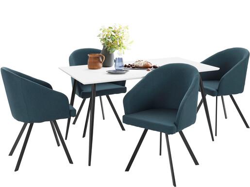 5-tlg. Essgruppe DANTE 140 cm mit 4 Stühlen in blau