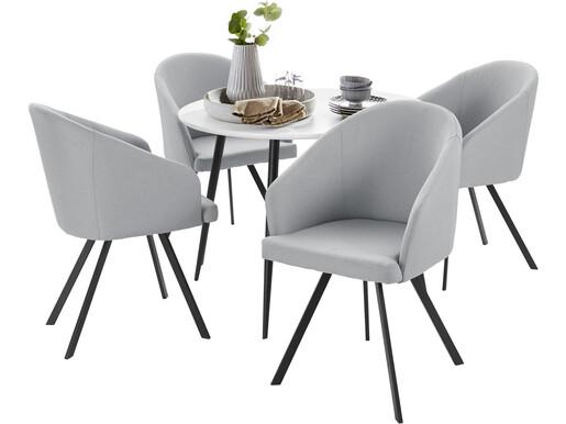 5-tlg. Essgruppe DANTE 100 cm mit 4 Stühlen in grau