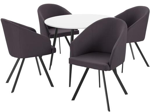 5-tlg. Essgruppe DANTE 100 cm mit 4 Stühlen in anthrazit
