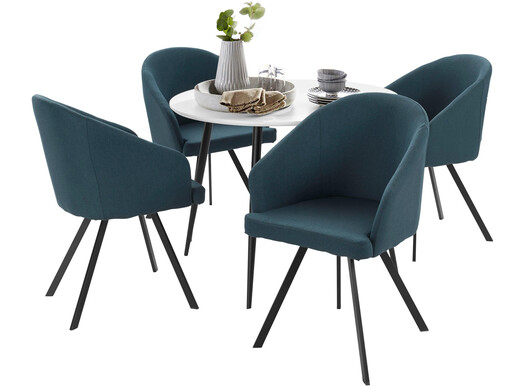 5-tlg. Essgruppe DANTE 100 cmmit 4 Stühlen in blau