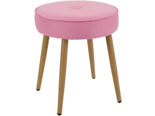 Runder Hocker THEDA Webstoff in rosa/eichefarben