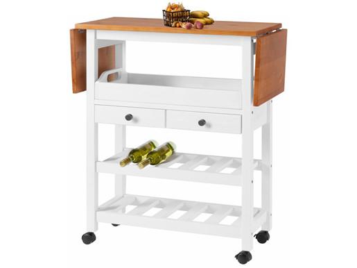 Küchenwagen NIL aus Kiefer Massivholz in weiß/honig