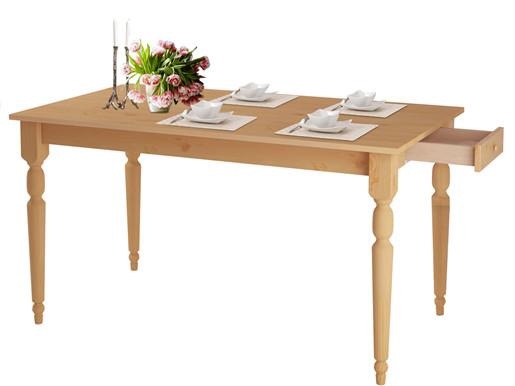 6-Sitzer Esstisch LYLA 160 cm, Schublade, Kiefer gebeizt