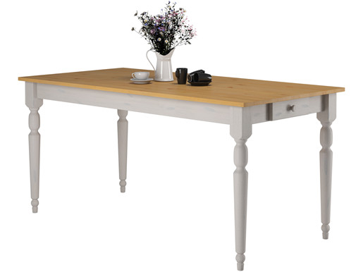 Esstisch LYLA 160 cm mit 1 Schublade aus Kiefer, weiß/honig