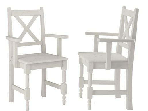 2er Set Stühle LYLA I mit Armlehnen aus Kiefer massiv, weiß