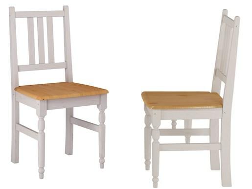 2er Set Stühle LYLA II aus Kiefer  massiv in weiß und honig