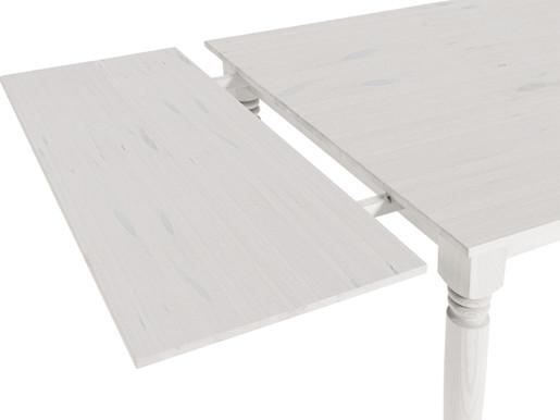 2x ausziehbare Platte NIKOLAI aus Kiefer in weiß lasiert