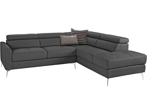 Ecksofa JONI 255 cm aus Leder in grau, Recamiere rechts