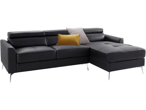 Ecksofa JONI 162 cm aus Leder in schwarz, Recamiere rechts