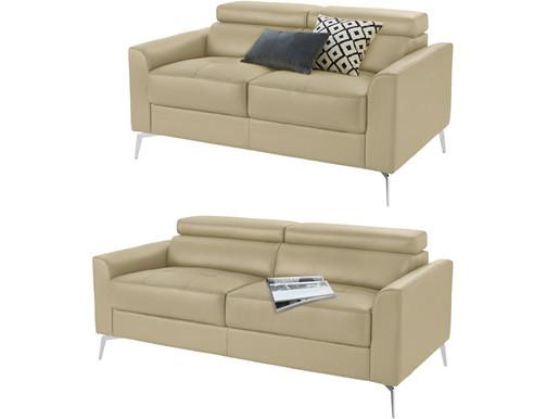 Sofa-Set JONI aus Leder in creme mit Metallbeinen