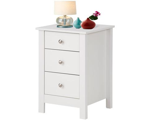 Nachttisch JEFFREY mit Höhe 60 cm aus MDF in weiß