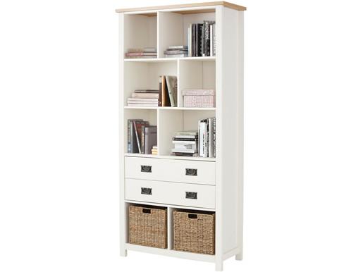 Bücherregal GABRIELLE mit 2 Schubladen in weiß/creme
