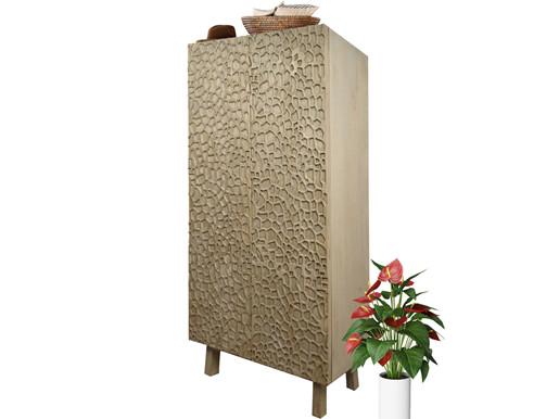2 trg. Kleiderschrank GROVE aus Mangoholz in naturfarben