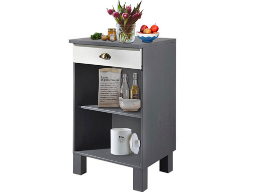 Unterschrank für Küche TILO aus Kiefer massiv in weiß & grau