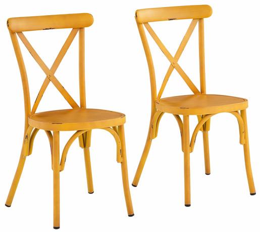 2er-Set Stühle LEVI aus Metall in gelb