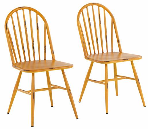 2er-Set Stühle ALANE aus Aluminium in gelb