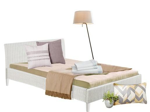 Bett JULIA 140 cm aus Rattan in weiß