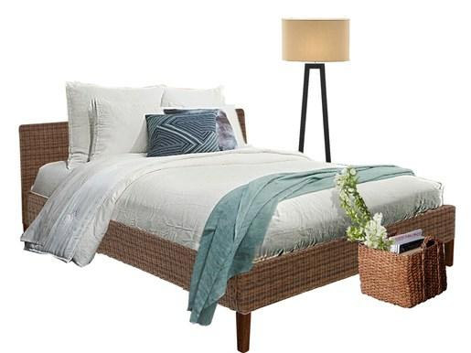 Bett JULIA 180 cm aus Rattan in braun