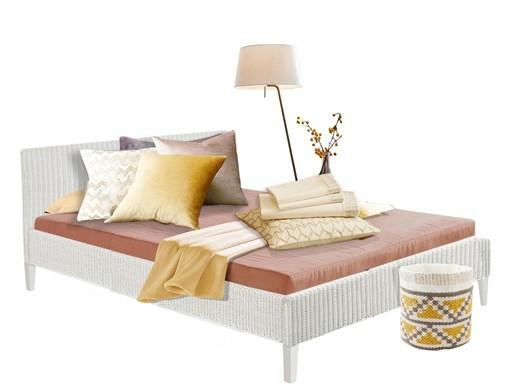 Bett JULIA 180 cm aus Rattan in weiß