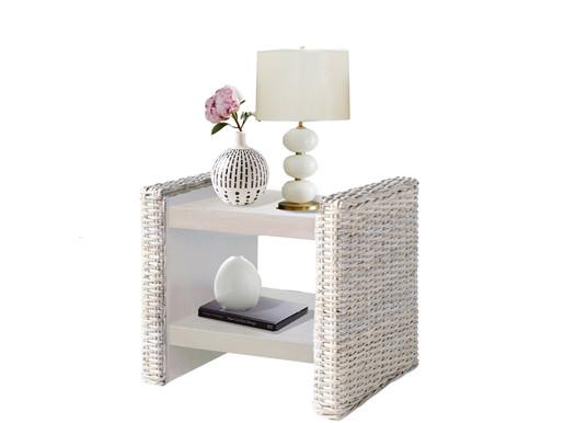 Nachttisch CAPRI aus Rattan in weiß
