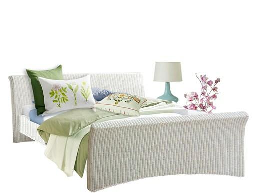 Bett NINA 180 cm aus Rattan in weiß
