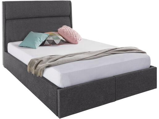 Bett ALMA 140x200 cm mit Schubladen in dunkelgrau