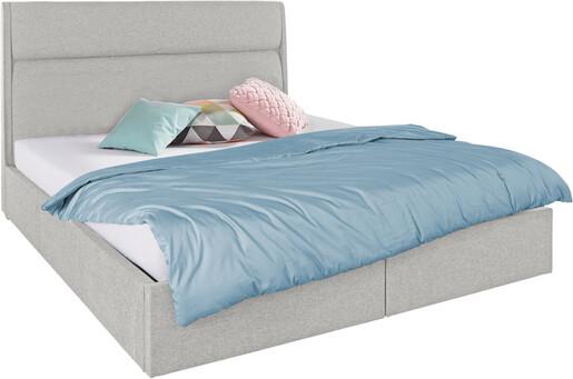 Bett ALMA 140x200 cm mit 2 Bettkästen, Stoffbezug hellgrau
