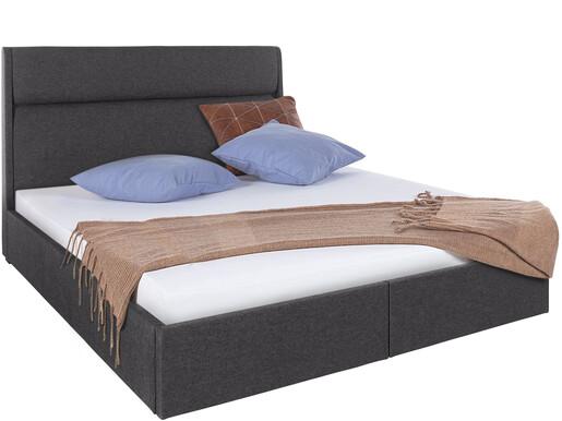 Bett ALMA 180x200 cm mit Bettkästen in dunkelgrau