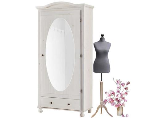 Schrank YAGO mit Spiegel aus Kiefer in weiß lasiert