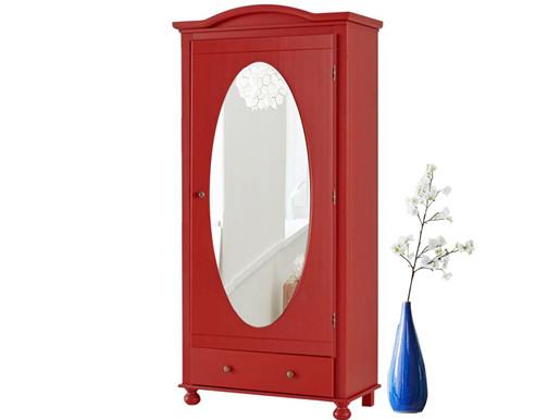 Schrank YAGO mit Spiegel aus Kiefer in rot lackiert