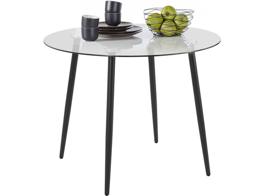 Runder Esstisch DANA aus Glas, 100 cm breit, Metallbeine