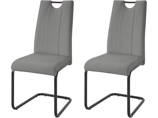 2er-Set Freischwinger LAINE aus Kunstleder in grau/schwarz