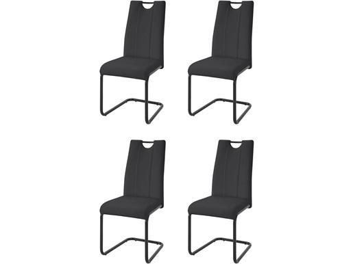 4er-Set Freischwinger LAINE aus Kunstleder in schwarz