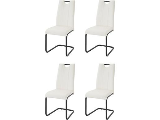 4er-Set Freischwinger LAINE aus Kunstleder in weiß