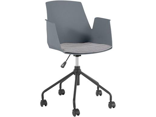 Schreibtischstuhl PALOMA Kunststoffschale mit Armlehne, grau