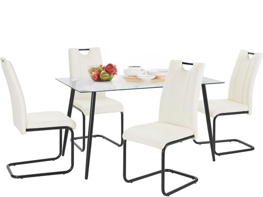 5-tlg. Essgruppe LAINE mit Tisch 140 cm, Stühle in weiß
