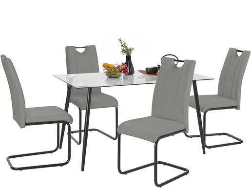 5-tlg. Essgruppe LAINE mit Glastisch 140 cm, Stühle in grau