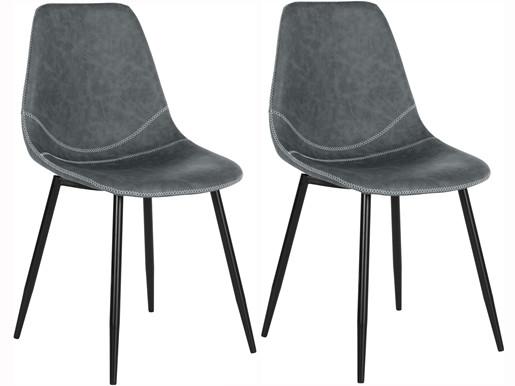 2er-Set Esszimmerstühle MAARAVI aus Kunstleder in anthrazit