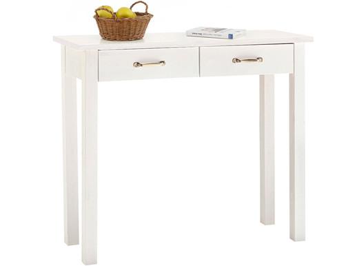 Konsolentisch ABBY 2 Schubladen aus Kiefer in weiß lackiert