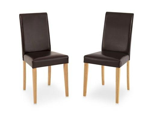 LUCAS Kunstlederstühle in braun und gebeizt geölt