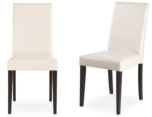 2er-Set Esszimmerstuhl LUCAS aus Kunstleder in weiß/havana