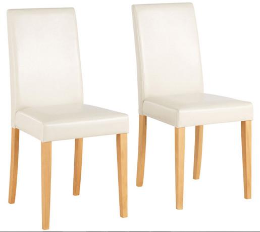 LUCAS Kunstlederstühle in weiß und gebeizt geölt
