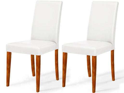 2er Set Stühle LU aus PU Leder  in weiß
