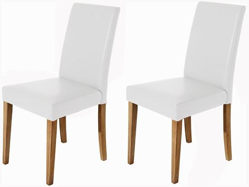 2er Set Stühle LU aus PU Leder weiß