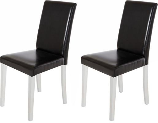 2er Set Stühle LU aus PU Leder in schwarz/weiss
