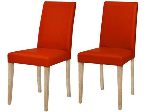 2er Set Stühle LU aus PU Leder in terracot & helleiche