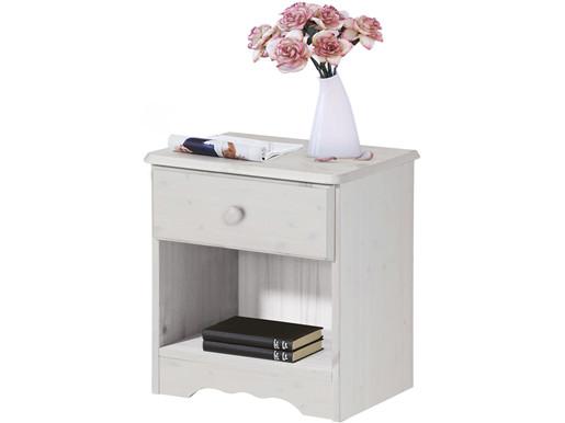 Nachttisch MAISY mit Schublade aus Kiefer massiv in weiß