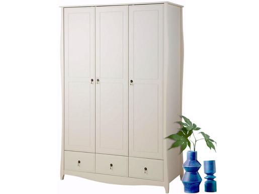 Garderobenschrank AMELIE 3 Türen aus Kiefer in creme weiß