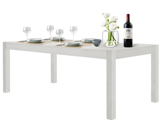 Tisch MONIQUE 200x100 aus Kiefer massiv in weiß lasiert